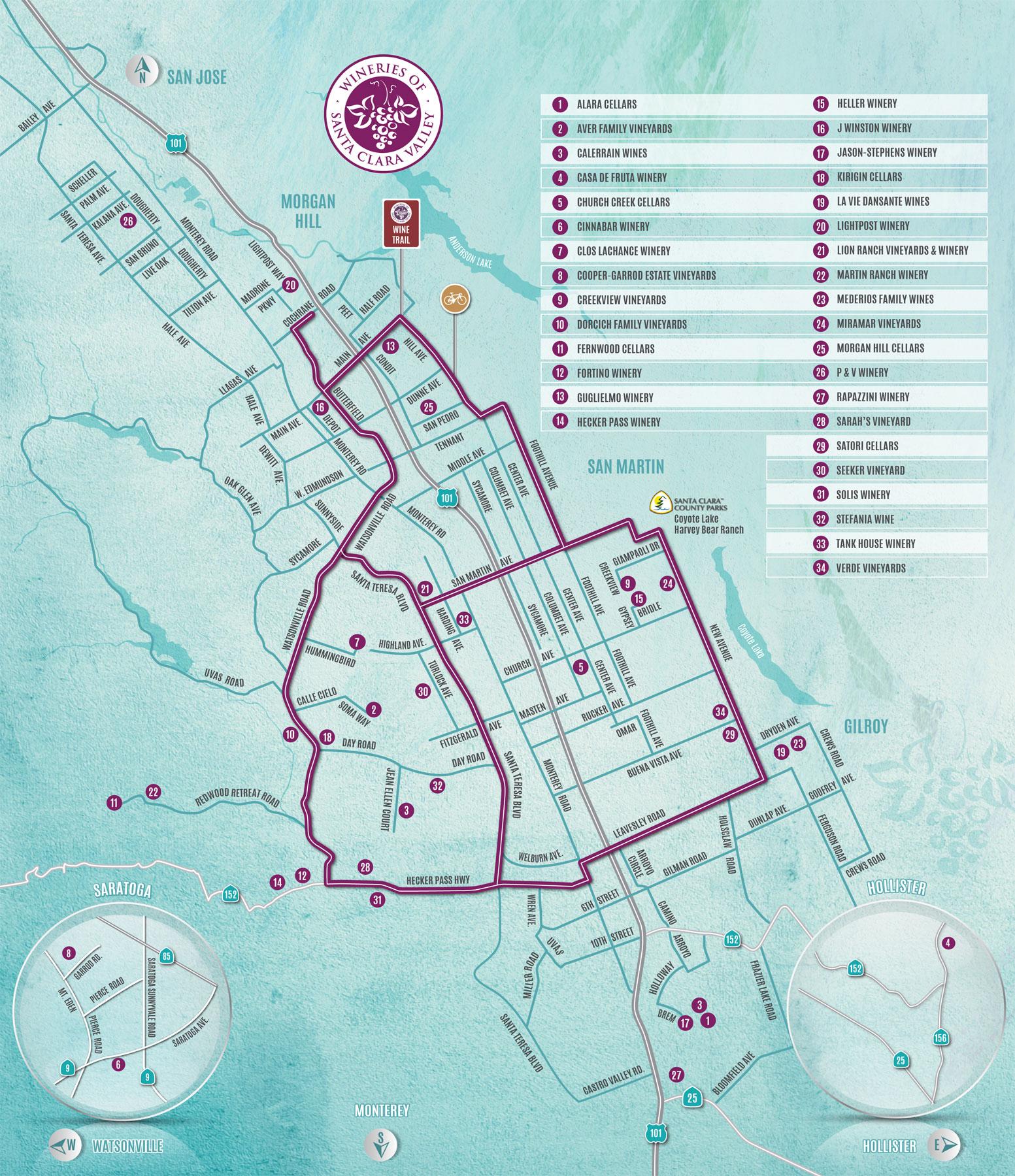 2019 Wineries of Santa Clara Valley Map